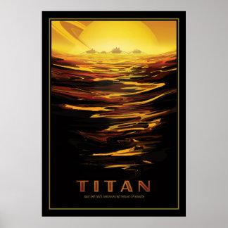 Los lagos del titán de la luna de Saturns Póster