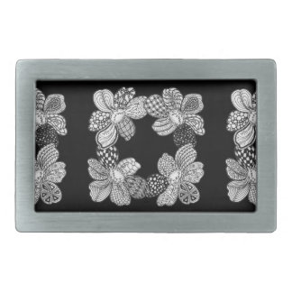 Los leus dibujados mano de la flor eligen hebilla cinturón rectangular