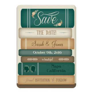 """Los libros de la biblioteca ahorran la fecha invitación 5"""" x 7"""""""