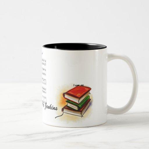 los libros, hoja de música, le quiero, leí, taza de dos tonos