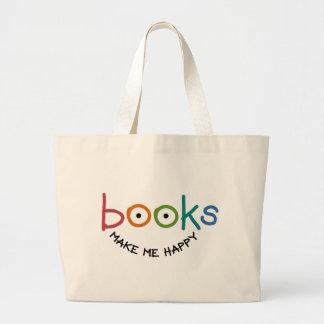 Los libros me hacen feliz bolsa de tela grande