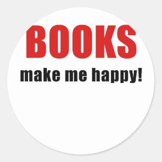 Los libros me hacen feliz pegatina redonda
