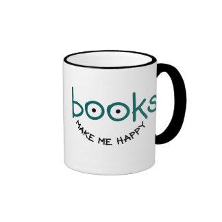 Los libros me hacen feliz taza a dos colores