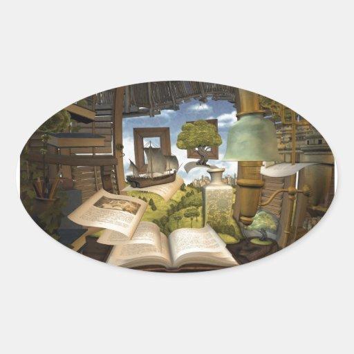 ¡Los libros son conocimiento! Calcomania De Oval