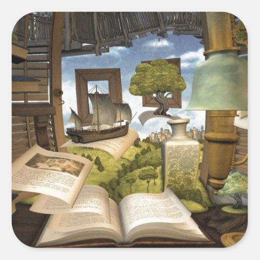 ¡Los libros son conocimiento! Pegatina Cuadradas Personalizadas