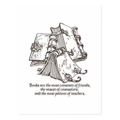 Los libros son constantes tarjeta postal