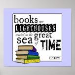 Los libros son faros en el gran mar del tiempo impresiones