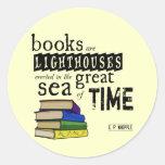 Los libros son faros en el gran mar del tiempo pegatinas