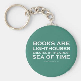 Los libros son faros llavero redondo tipo pin