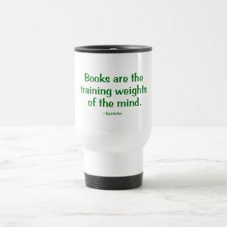 Los libros son los pesos de entrenamiento de la taza de viaje de acero inoxidable
