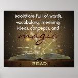 Los libros son poster mágico de la instrucción