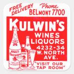 Los licores del vintage del kitsch de Kulwin retro Pegatina Cuadrada