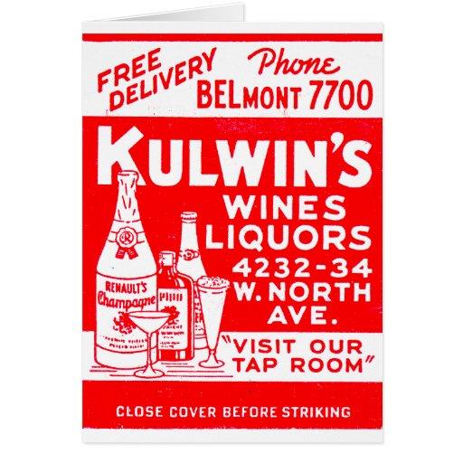 Los licores del vintage del kitsch de Kulwin retro Felicitacion