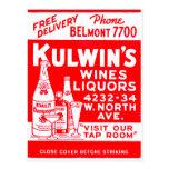 Los licores del vintage del kitsch de Kulwin retro Postal