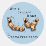 Los líderes mundiales reaccionan (Obama) Pegatina Redonda