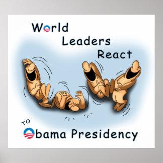 Los líderes mundiales reaccionan (Obama) Póster