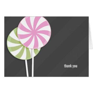 Los Lollipops rosados y verdes le agradecen Tarjeta Pequeña