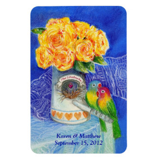 Los Lovebirds con los rosas amarillos Iman