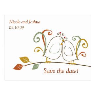 Los Lovebirds en ramas ahorran las fechas Postal