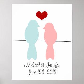 Los Lovebirds imprimen - personalizar con nombres  Póster