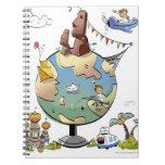 Los lugares famosos del mundo alrededor del globo spiral notebooks