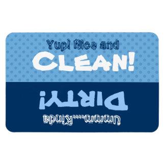 Los lunares azules limpian el lavaplatos sucio iman
