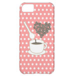 Los lunares blancos I aman iPhone rosado del café