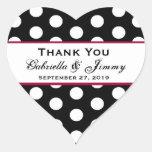 Los lunares le agradecen el corazón B459 del boda Calcomanía De Corazón Personalizadas