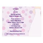 Los lunares púrpuras de la ducha nupcial invitan a postal