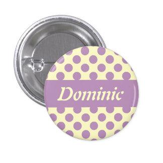 Los lunares púrpuras personalizaron los botones de pin redondo de 1 pulgada
