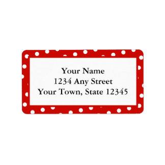 Los lunares rojos y blancos imprimieron etiquetas etiquetas de dirección