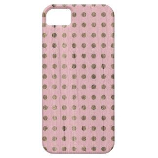 Los lunares rosados de madera puntean el hipste iPhone 5 funda