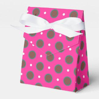 Los lunares rosados, marrones y de la aguamarina cajas para regalos de boda