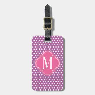 Los lunares rosados púrpuras personalizaron el mon etiquetas de equipaje