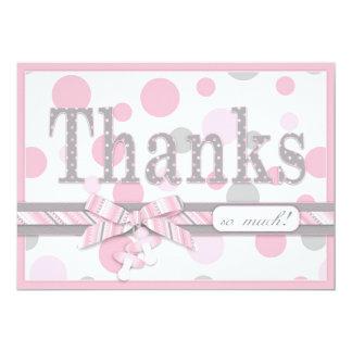 """Los lunares rosados y grises le agradecen fiesta invitación 5"""" x 7"""""""