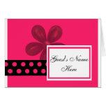 Los lunares rosados y negros almuerzan/invitación  tarjeta