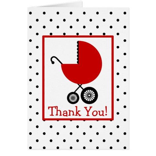 Los lunares y la fiesta de bienvenida al bebé roja felicitacion