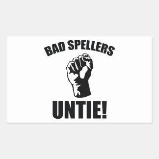 ¡Los malos abecedarios desatan! Pegatina Rectangular