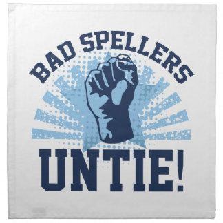 ¡Los malos abecedarios desatan! Servilleta Imprimida