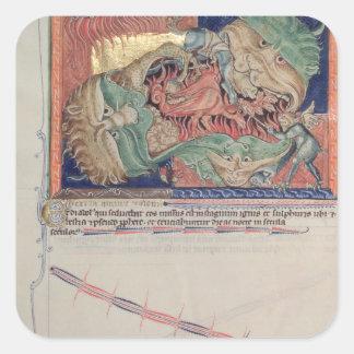 Los mandíbulas del infierno que tragan el dragón pegatina cuadrada