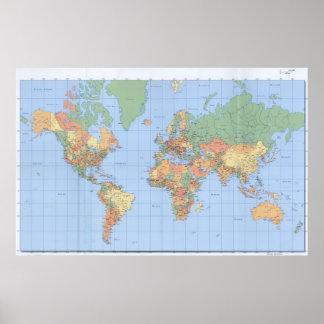 Los mapas del mundo, el poster impreso 23x36 del m