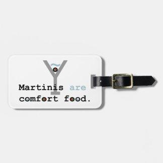 Los martinis son comida de la comodidad etiquetas maleta