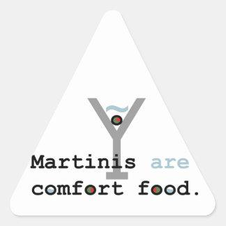 Los martinis son comida de la comodidad calcomanías triangulos personalizadas