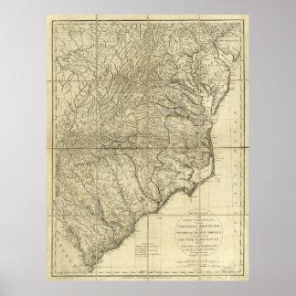 Los marzos de señor Cornwallis Map (1787) Póster