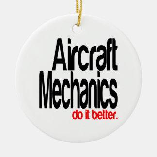 Los mecánicos de aviones mejora adorno navideño redondo de cerámica