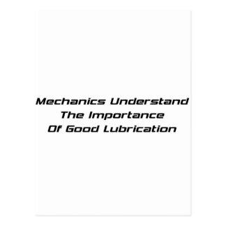 Los mecánicos entienden la importancia de buen postal