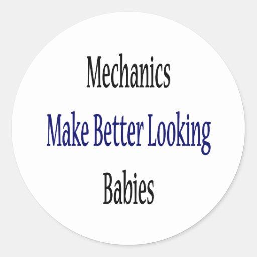 Los mecánicos hacen a bebés más apuestos pegatina redonda