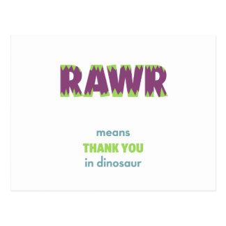Los medios de RAWR le agradecen en dinosaurio Postales
