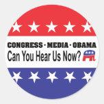 ¿Los medios Obama del congreso pueden usted ahora  Etiquetas Redondas