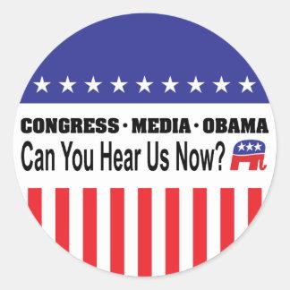 ¿Los medios Obama del congreso pueden usted ahora Pegatinas Redondas